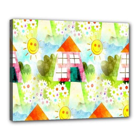 Summer House And Garden A Completely Seamless Tile Able Background Canvas 20  X 16  by Simbadda