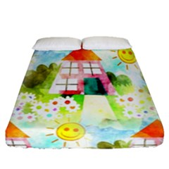 Summer House And Garden A Completely Seamless Tile Able Background Fitted Sheet (queen Size) by Simbadda