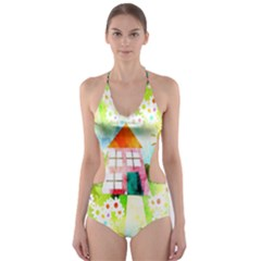 Summer House And Garden A Completely Seamless Tile Able Background Cut-out One Piece Swimsuit by Simbadda