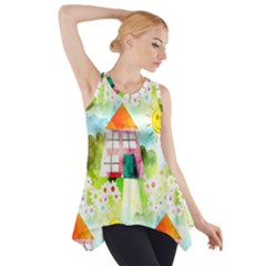 Summer House And Garden A Completely Seamless Tile Able Background Side Drop Tank Tunic