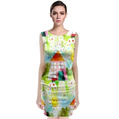 Summer House And Garden A Completely Seamless Tile Able Background Classic Sleeveless Midi Dress