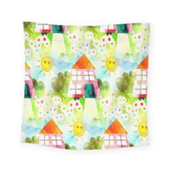 Summer House And Garden A Completely Seamless Tile Able Background Square Tapestry (small) by Simbadda