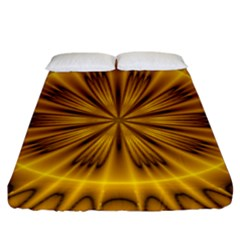 Fractal Yellow Kaleidoscope Lyapunov Fitted Sheet (king Size) by Simbadda
