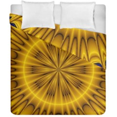 Fractal Yellow Kaleidoscope Lyapunov Duvet Cover Double Side (california King Size) by Simbadda