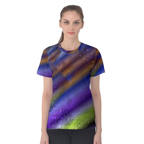 Fractal Color Stripes Women s Cotton Tee by Simbadda