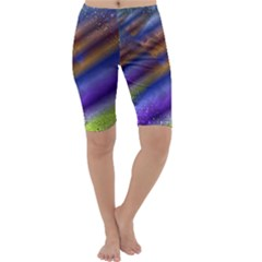 Fractal Color Stripes Cropped Leggings  by Simbadda