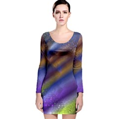 Fractal Color Stripes Long Sleeve Velvet Bodycon Dress