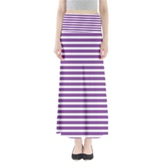 Horizontal Stripes Purple Maxi Skirts by Mariart