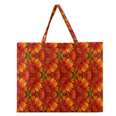 Background Flower Fractal Zipper Large Tote Bag by Simbadda