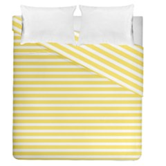 Horizontal Stripes Yellow Duvet Cover Double Side (queen Size) by Mariart