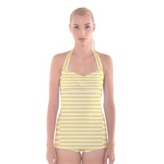 Horizontal Stripes Yellow Boyleg Halter Swimsuit  by Mariart