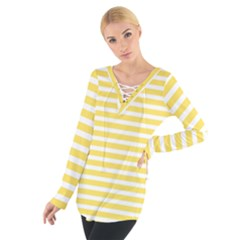 Horizontal Stripes Yellow Women s Tie Up Tee by Mariart