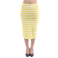 Horizontal Stripes Yellow Midi Pencil Skirt by Mariart