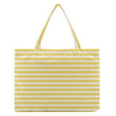 Horizontal Stripes Yellow Medium Zipper Tote Bag by Mariart