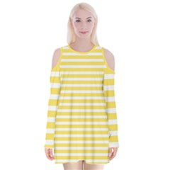 Horizontal Stripes Yellow Velvet Long Sleeve Shoulder Cutout Dress by Mariart