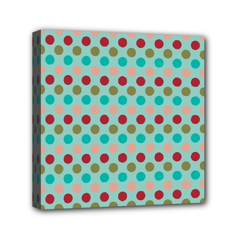 Large Colored Polka Dots Line Circle Mini Canvas 6  X 6  by Mariart