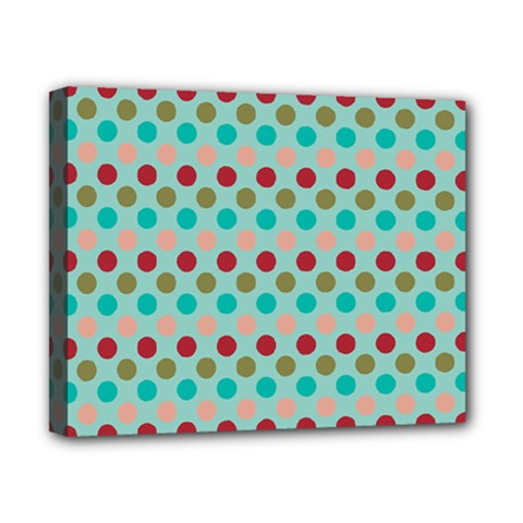 Large Colored Polka Dots Line Circle Canvas 10  X 8  by Mariart