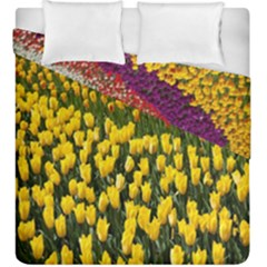 Colorful Tulips In Keukenhof Gardens Wallpaper Duvet Cover Double Side (king Size) by Simbadda