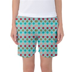 Large Colored Polka Dots Line Circle Women s Basketball Shorts by Mariart