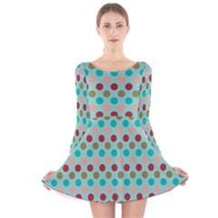 Large Colored Polka Dots Line Circle Long Sleeve Velvet Skater Dress by Mariart