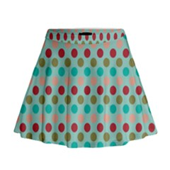 Large Colored Polka Dots Line Circle Mini Flare Skirt by Mariart