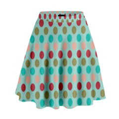 Large Colored Polka Dots Line Circle High Waist Skirt by Mariart