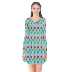 Large Colored Polka Dots Line Circle Flare Dress by Mariart