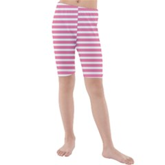 Horizontal Stripes Light Pink Kids  Mid Length Swim Shorts by Mariart