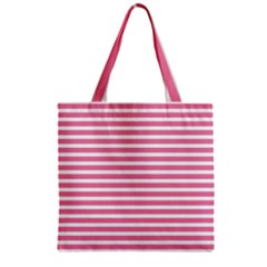 Horizontal Stripes Light Pink Zipper Grocery Tote Bag by Mariart