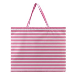 Horizontal Stripes Light Pink Zipper Large Tote Bag by Mariart