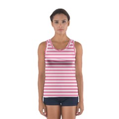 Horizontal Stripes Light Pink Women s Sport Tank Top  by Mariart