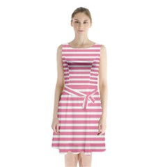 Horizontal Stripes Light Pink Sleeveless Chiffon Waist Tie Dress by Mariart