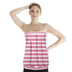 Horizontal Stripes Light Pink Strapless Top by Mariart