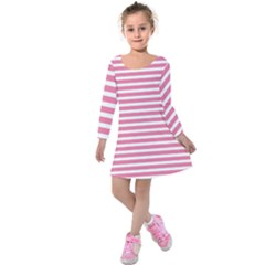 Horizontal Stripes Light Pink Kids  Long Sleeve Velvet Dress by Mariart
