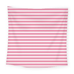 Horizontal Stripes Light Pink Square Tapestry (large)