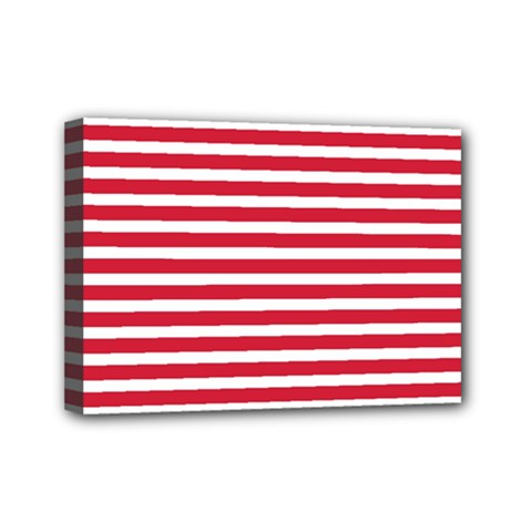 Horizontal Stripes Red Mini Canvas 7  X 5  by Mariart