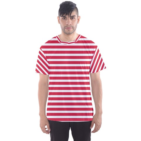 Horizontal Stripes Red Men s Sport Mesh Tee by Mariart