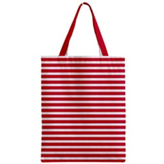Horizontal Stripes Red Zipper Classic Tote Bag by Mariart