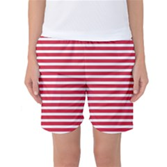 Horizontal Stripes Red Women s Basketball Shorts