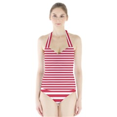 Horizontal Stripes Red Halter Swimsuit by Mariart