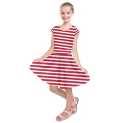 Horizontal Stripes Red Kids  Short Sleeve Dress by Mariart