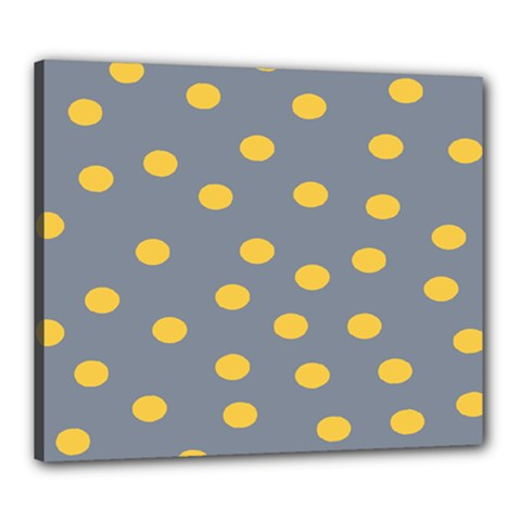 Limpet Polka Dot Yellow Grey Canvas 24  X 20  by Mariart