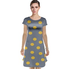 Limpet Polka Dot Yellow Grey Cap Sleeve Nightdress by Mariart