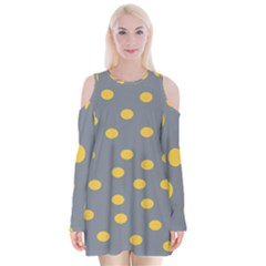 Limpet Polka Dot Yellow Grey Velvet Long Sleeve Shoulder Cutout Dress by Mariart