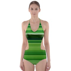 Horizontal Stripes Line Green Cut Out One Piece Swimsuit by Mariart