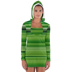 Horizontal Stripes Line Green Women s Long Sleeve Hooded T Shirt by Mariart