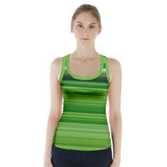 Horizontal Stripes Line Green Racer Back Sports Top