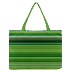 Horizontal Stripes Line Green Medium Zipper Tote Bag