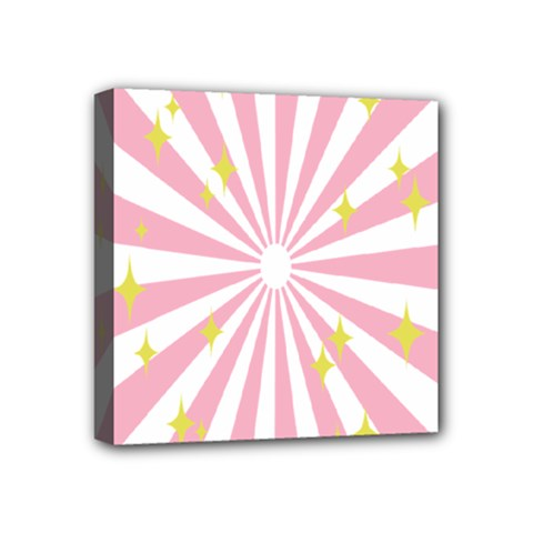 Hurak Pink Star Yellow Hole Sunlight Light Mini Canvas 4  X 4  by Mariart