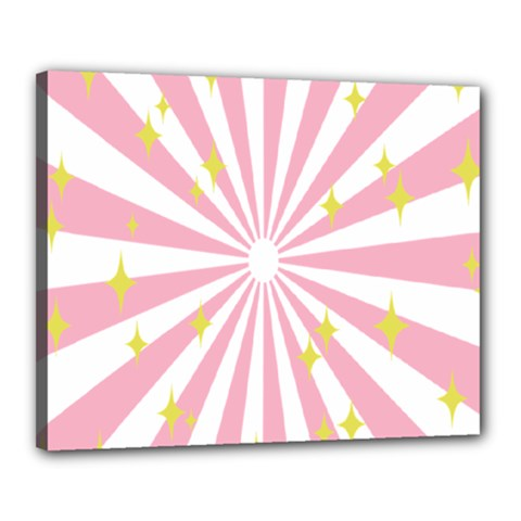 Hurak Pink Star Yellow Hole Sunlight Light Canvas 20  X 16  by Mariart